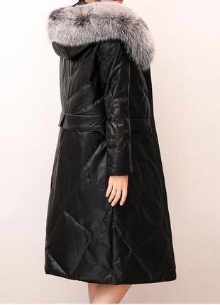 Пуховик эко-кожа, натуральный песец, кожаный пуховик с песцом, пуховая курточка с мехом