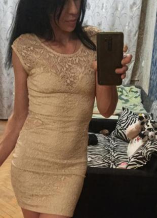 Фирменное платье сарафан бежевое ажурнное гепюровое