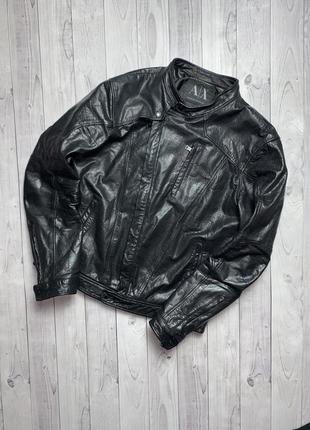 Кожанная куртка armani exchange кожанка