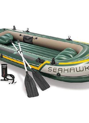 Човен байдарка каяк чотиримісна надувна intex seahawk 4 boat set