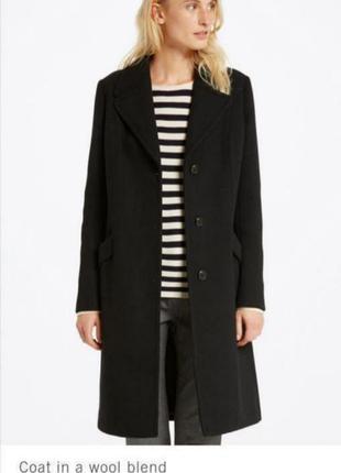Чёрное пальто шерсть кашемир от marc o'polo