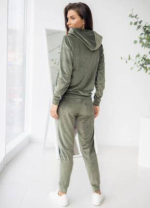 Спортивный велюровый костюм: худи на молнии + штаны, кофта с капишоном, толстовка с карманом кенгуру, домашний костюм, костюм для прогулянок