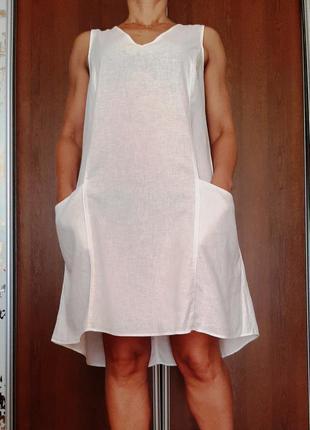 Белоснежное натуральное платье лен+вискоза