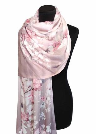 Тонкий хлопковый шарф палантин парео пудровый розовый сакура хлопок новый премиум качество
