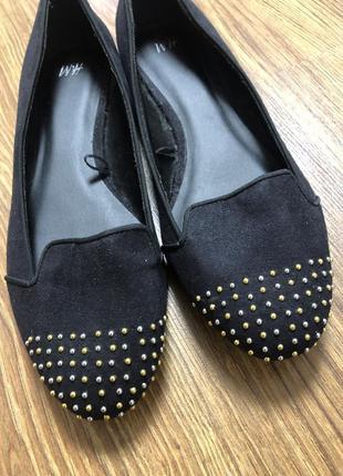 Черные туфли балетки лоферы h&m