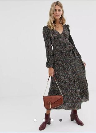 Плиссированное платье макси с запахом и цветочным принтом asos design