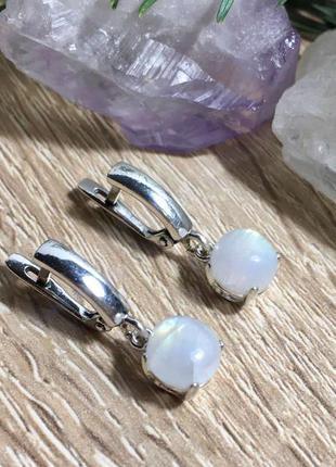 Серебряные серьги с натуральным лунным камнем (адуляр)