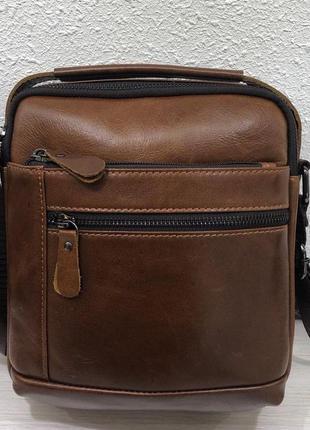 Кожаная сумка среднего размера коричневая