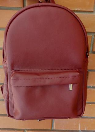 Бордовый стильный вместительный женский рюкзак для учебы