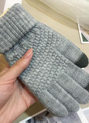 Перчатки зима женские серые для сенсорных экранов
