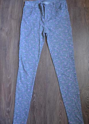 Джинсы, скинни, джинсы в обтяжку в цветочек