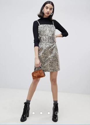 Качественное платье с широким поясом на талии леопардовый принт lost ink
