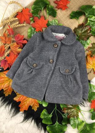 Серое флисовое пальто на 9-12 мес