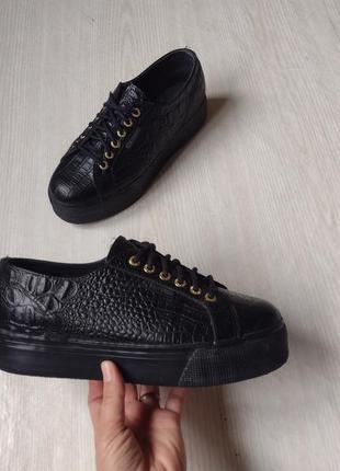 Superga кожані туфлі на платформі, кожаные туфли на платформе