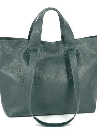 Кожаная вместительная темно-зеленая сумка-трансформер, цвета в ассортименте