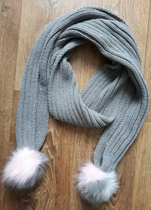 Зимний теплый шарф длинный серого цвета летняя осенняя весенняя зимняя распродажа лот обмен женская коллекция для рук