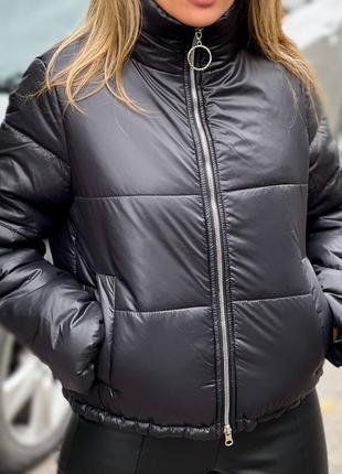 Демисезонная дутая куртка на молнии воротник стойка х