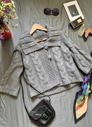 Esprit свитер укорочённый, кофта вязанная с воротником