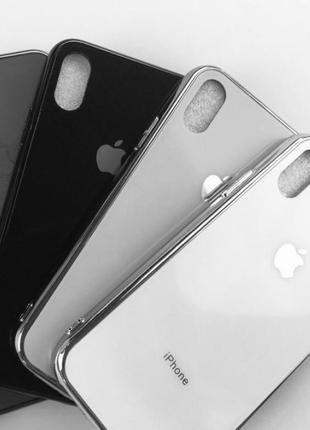Стильный белый зеркальный чехол iphone xs max стеклянный / білий зеркальний скляний чохол