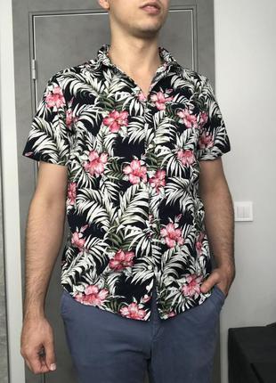 Квітчаста сорочка f&f із бавовни на короткий рукав | l