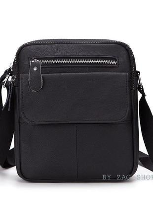 Мужская сумка барсетка из натуральной кожи чёрная сумка на плечо мужской мессенджер сумка планшет
