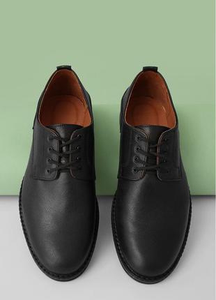 Кожаные классические мужские черные туфли vm-veb-01