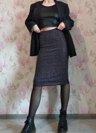 Блестящая юбка с люрексом