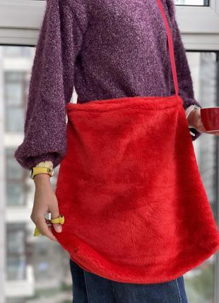 Эко сумка шоппер торба @don.bacon меховая красная кросс бади