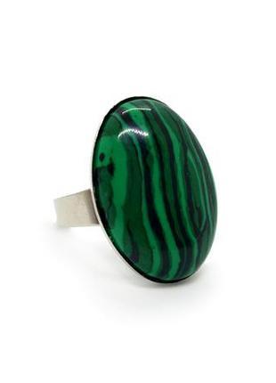 💍💚 стильное кольцо овал натуральный камень малахит