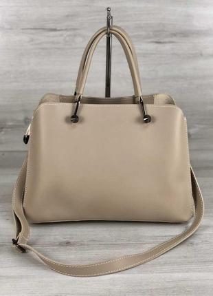 Бежевая женская сумочка деловая модная сумка саквояж для документов ноутбука а4