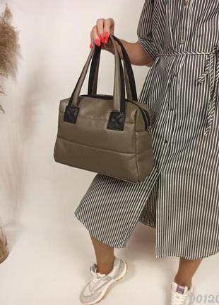 Женская дутая сумка хаки, жіноча дута сумочка хакі