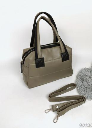 Хакі сумка дута стьобана жіноча, женская сумка дутая стеганая хаки