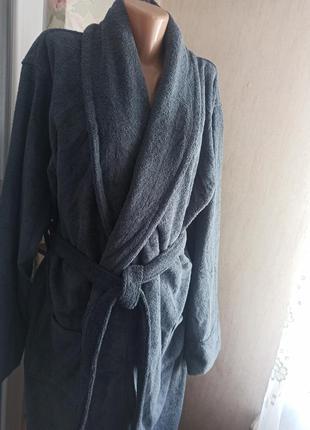 Натуральный роскошный махровый длинный мужской халат lux  германия xxl