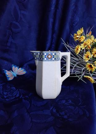 Антиквариат! 1878-1890 годы sarreguemines саржемин франция кофейник для кофе керамика опак с мельхиоровой крышкой отвесом клеймо оригинал