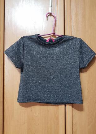 Стильная серая с серебристым люрексом укороченная футболочка, футболка