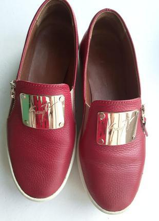 Кожаные слипоны туфли