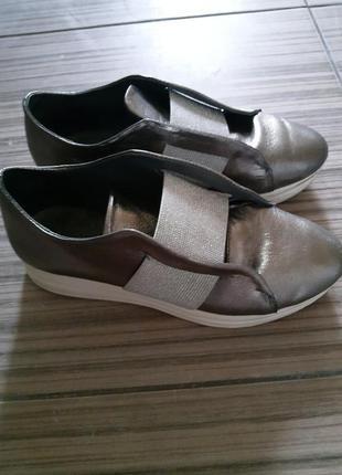 Слипоны туфли кожаные