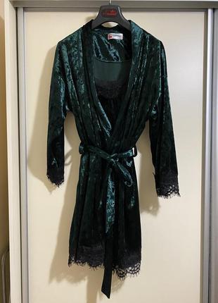 Бархатный комплект халат и ночнушка