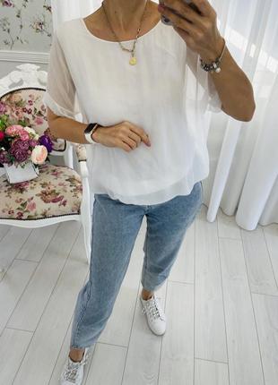 Италия шелковая белоснежная  блузка