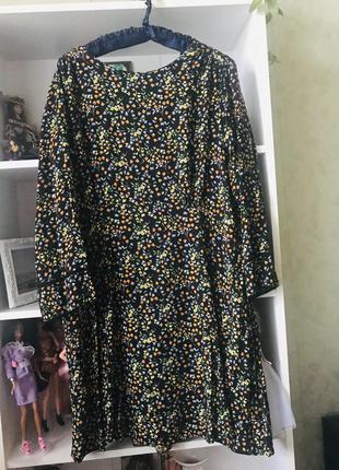 Красивое платье 👗 с принтом штапель большой размер