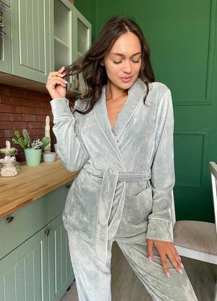 Пижама, домашний костюм, штаны и жакет