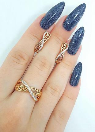 Набор позолоченный, серьги и  кольцо, позолота