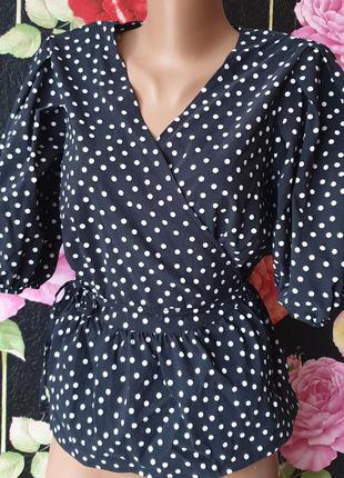 Красивая блузка на запах, черная в белый горох, пышный рукав фонарик р 42 44