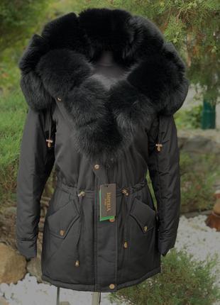 Зимняя куртка с натуральным мехом песца. парка