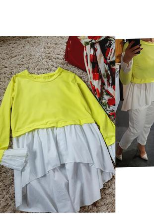 Стильная  блуза/рубашка/туника 2в1,италия, р. 8-10