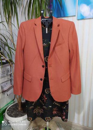 Афигенный терракотовый пиджак шерсть от h&m