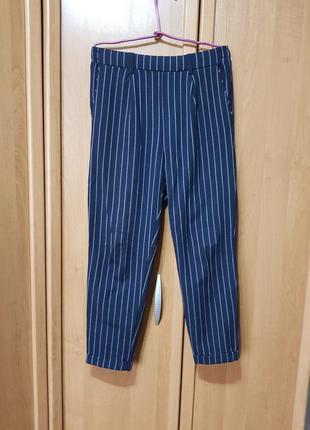 Стильные классические штаны в белую полоску, лёгкие брюки