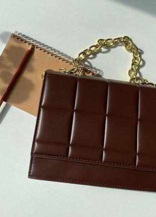 Коричневая сумочка клатч сумочка с цепочкой