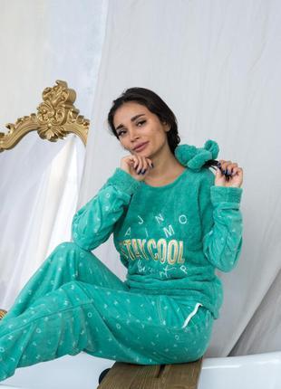 Качественная теплая плюшевая пижама/махровый домашний костюм штаны и кофта хс-хл турция