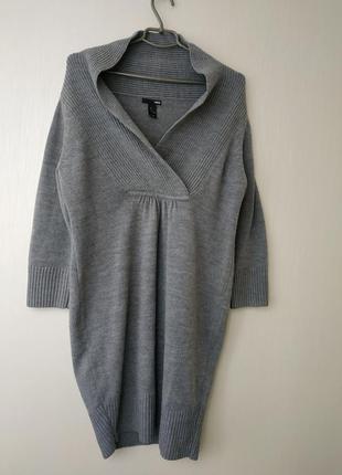 Тёплое серое платье туника на запах ,h&m